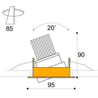 Phos adjustable 12w downlight