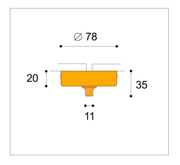 Surface fix ø76mm 20mm high