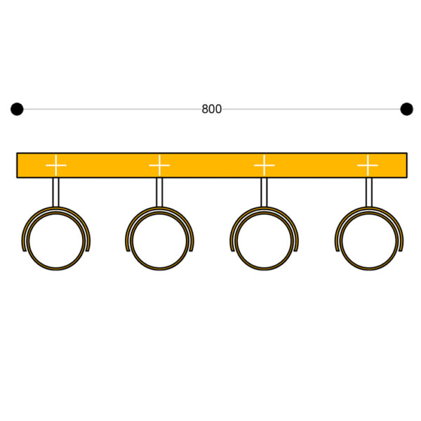 Wall mount Kuper Bar4 800mm