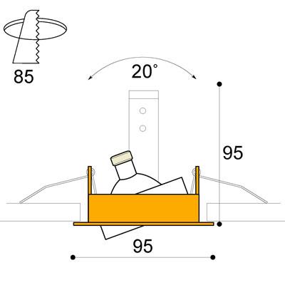 Phos adjustable GU10 downlight