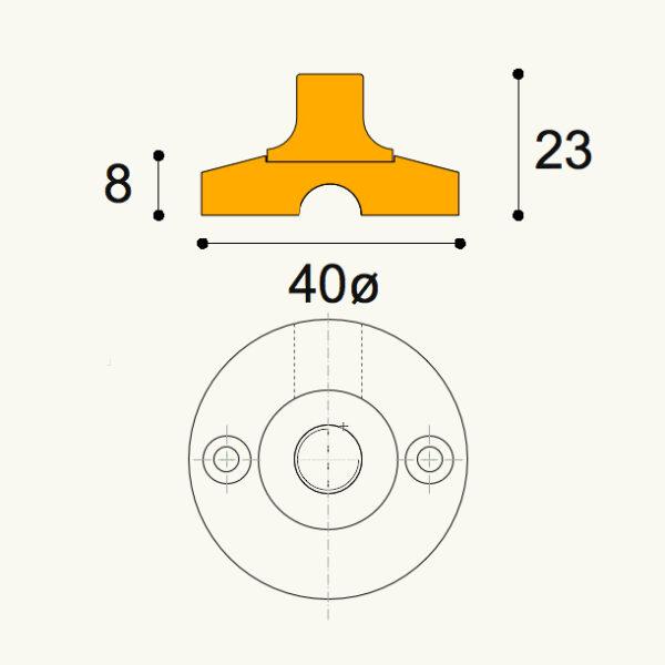 Kuper front fix 41mm Ø X 9.5mm high